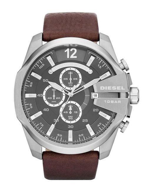 DIESEL | Brown Diesel 'mega Chief' Leather Strap Watch for Men | Lyst