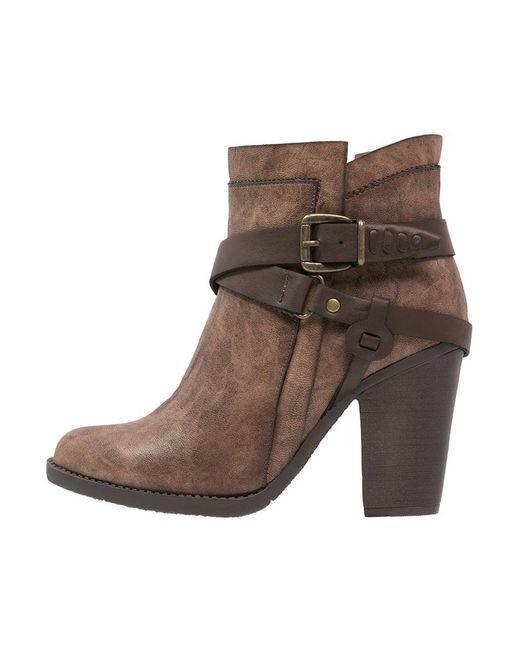 dune posey high heeled ankle boots in brown lyst