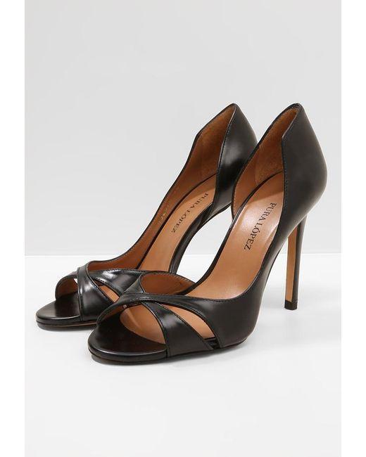 Pura Lopez Peeptoe heels - black dd05qA8