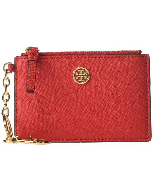 73ddc816d62a Tory Burch - Robinson Card Case Key Fob (brilliant Red) Wallet - Lyst ...