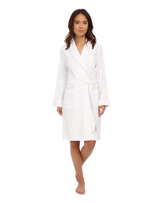 Lauren by Ralph Lauren - Essentials Quilted Collar And Cuff Robe (white) Women's Robe - Lyst