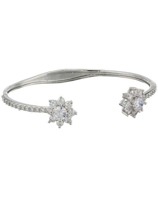 Nina - Small Flower Cuff Bracelet (rhodium/white Cz) Bracelet - Lyst