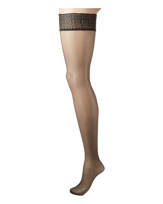 Falke Black Seidenglatt 15 Modern Lace Stay Up