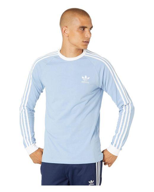 adidas Originals Cotton 3-stripes Long Sleeve Tee (legend Marine ...