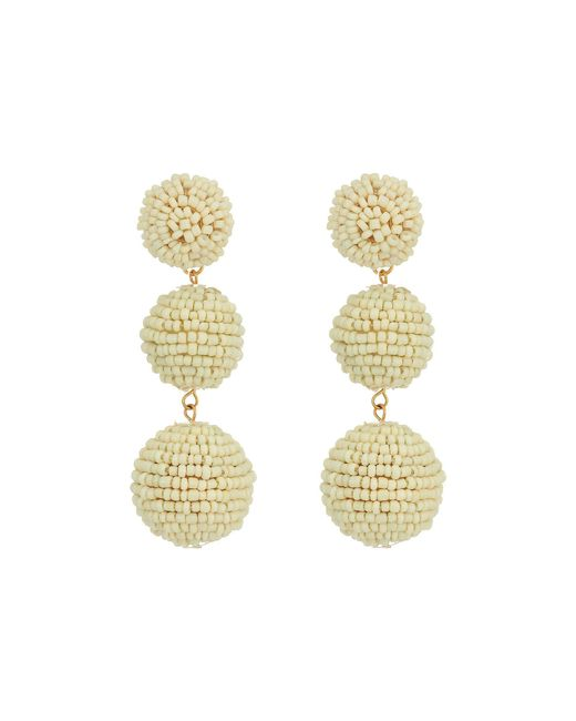 Kenneth Jay Lane | White 2 Ivory Seed Bead Wrapped Ball Post Earrings W/ Dome Top | Lyst