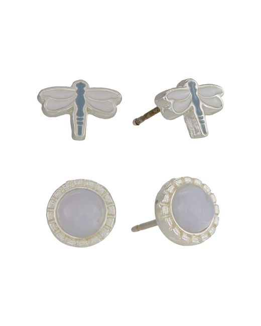ALEX AND ANI Metallic Dragonfly And Blue Lace Agate Earrings Set Of 2 Earring