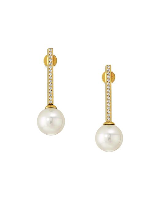 Majorica White 10mm Round Pearls Yellow Plated Earrings With 1.25 Mm Of Cz Accents