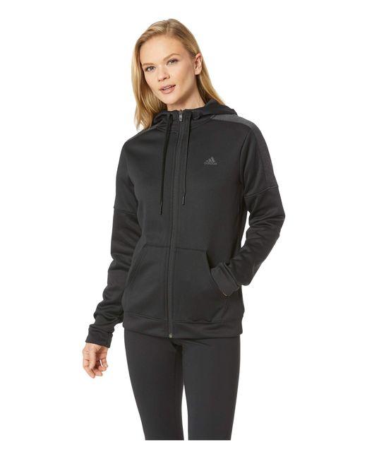 Adidas - Black Team Issue Full Zip Hoodie (noble Maroon/night Red) Women's Sweatshirt - Lyst