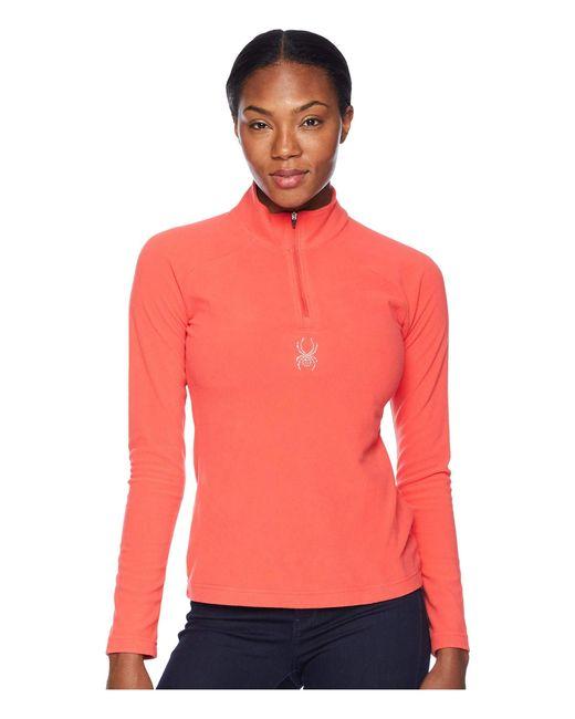 Spyder - Red Shimmer Zip T-neck Top (white/white) Women's Long Sleeve Pullover - Lyst
