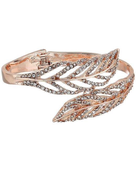 Guess - Metallic Feather Bypass Hinge Bangle (rose Gold/crystal) Bracelet - Lyst