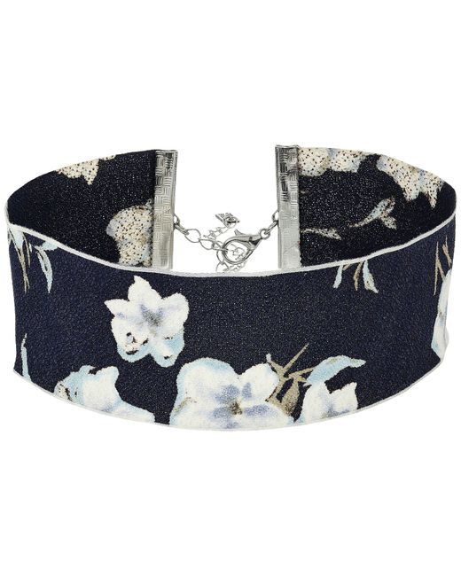 Steve Madden - Blue Material With Floral Pattern Choker Necklace - Lyst