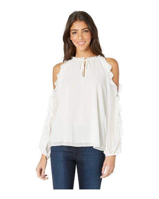 6e4cbc67a9b05 STATE - White Ruffle Sleeve Cold Shoulder Tie Neck Blouse (rich Black) ...