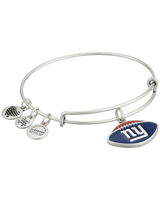 ALEX AND ANI - Metallic Color Infusion New York Giants Football Ii Bangle (rafaelian Silver) Bracelet - Lyst