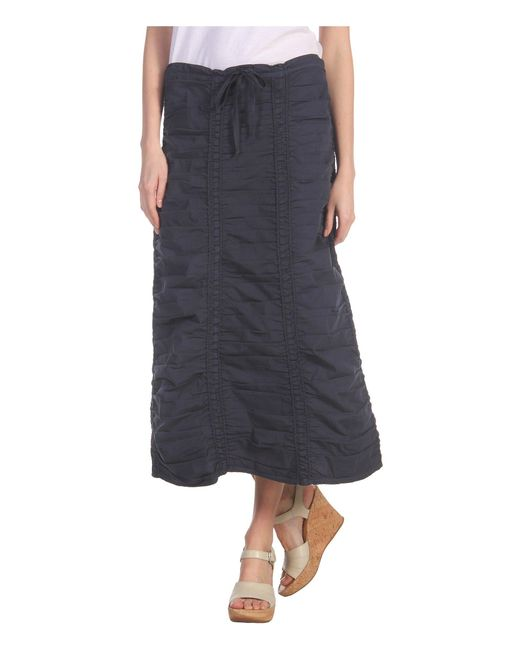 XCVI - Stretch Poplin Double Shirred Panel Skirt (cold Wash Blue) Women's Skirt - Lyst