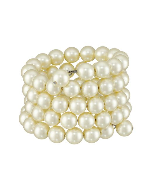 Kenneth Jay Lane - White 4 Row Cultura Pearl 10mm Coil Bracelet (pearl) Bracelet - Lyst