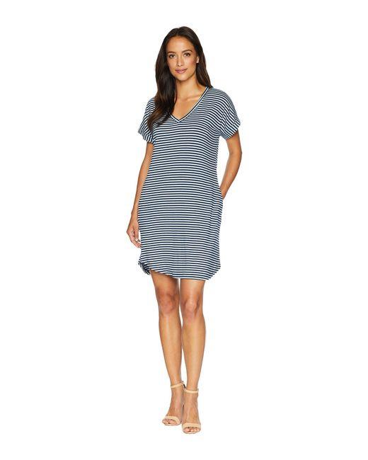 Allen Allen - Blue Stripe Short Sleeve Vee Dress With Pockets (lapis) Women's Dress - Lyst