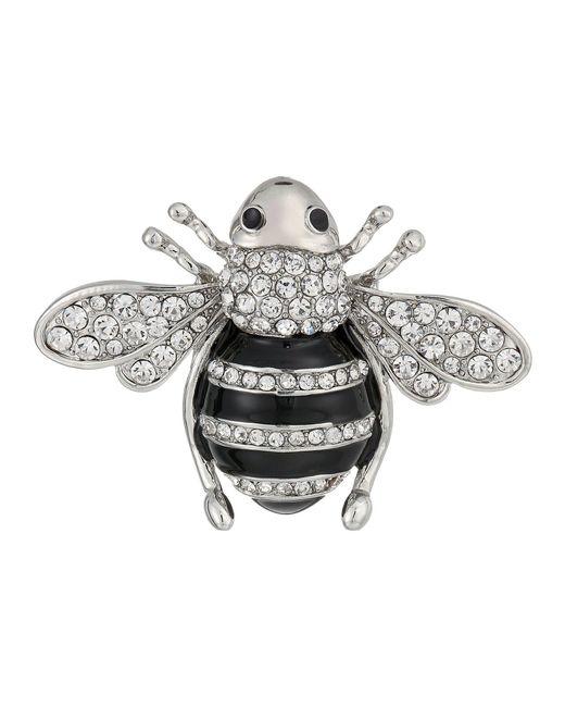 Nina - Multicolor Enamelled Honey Bee Brooch (rhodium/white Cz) Brooches Pins - Lyst
