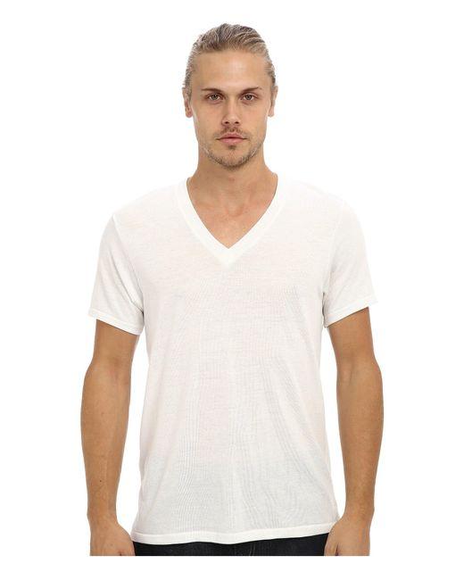 Alternative Apparel White Boss V-neck Tee for men