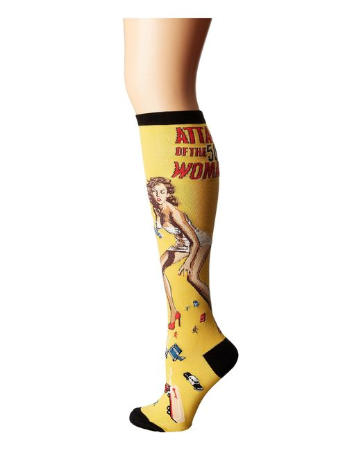 Socksmith - Attack Of The 50 Ft Woman (yellow) Women's Crew Cut Socks Shoes - Lyst