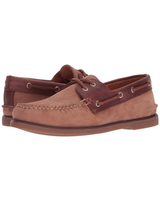 Sperry Top-Sider - Brown Gold A/o 2-eye Nubuck (grey/burgundy) Men's Slip On Shoes for Men - Lyst