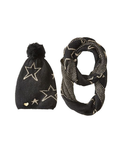 Betsey Johnson | Black Star Struck Two-piece Set Infinity Beanie | Lyst