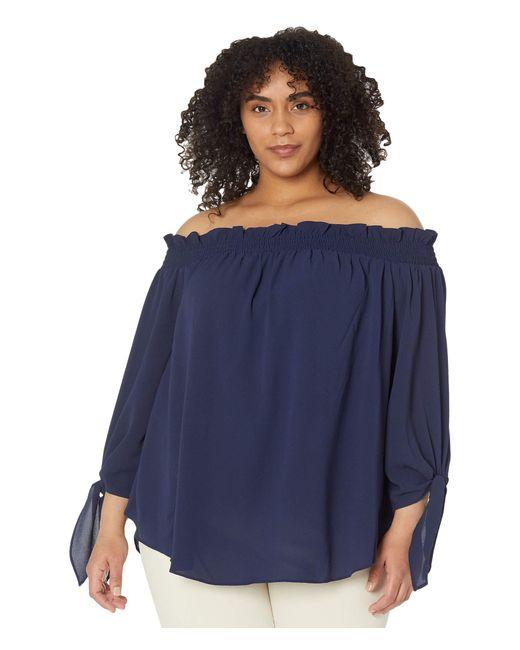 MICHAEL Michael Kors Blue Plus Size Solid Off Shoulder Top Clothing