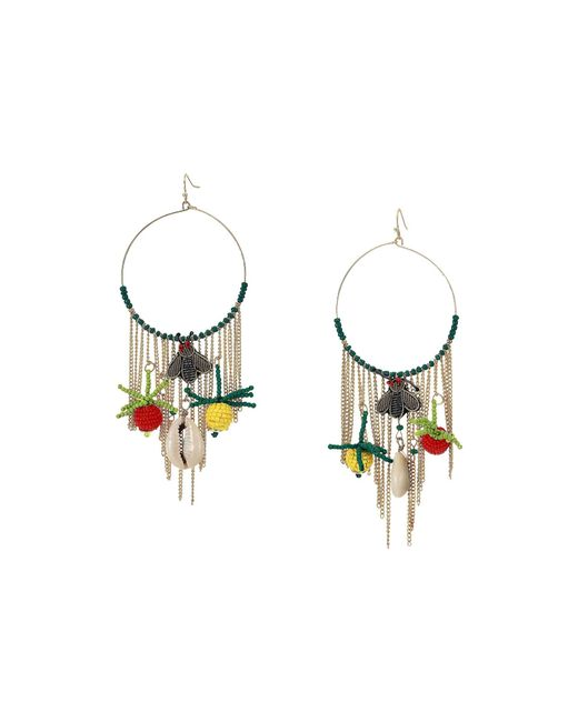 Kenneth Jay Lane Metallic 4 Circle Fishhook Hoop Earrings With Chains And Resin Charms