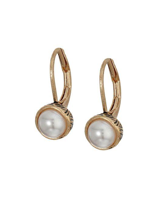 The Sak - Metallic Pearl Leverback Earrings (white) Earring - Lyst