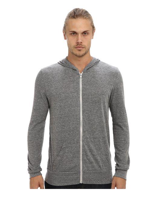 Alternative Apparel Gray L/s Zip Hoodie for men