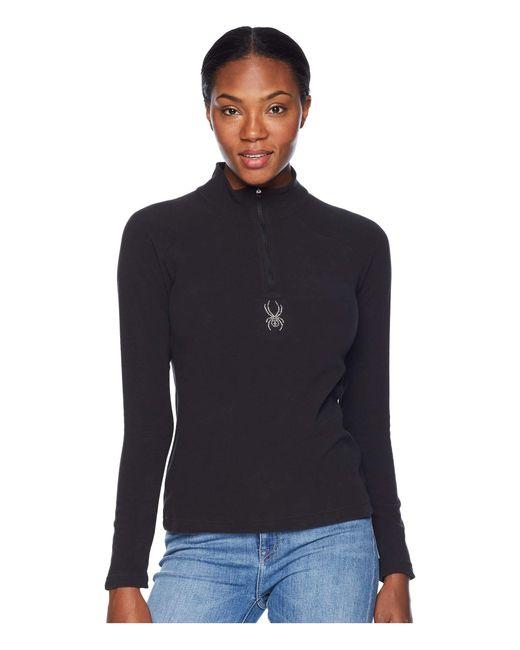 Spyder - Black Shimmer Zip T-neck Top (blue Ice/blue Ice) Women's Long Sleeve Pullover - Lyst
