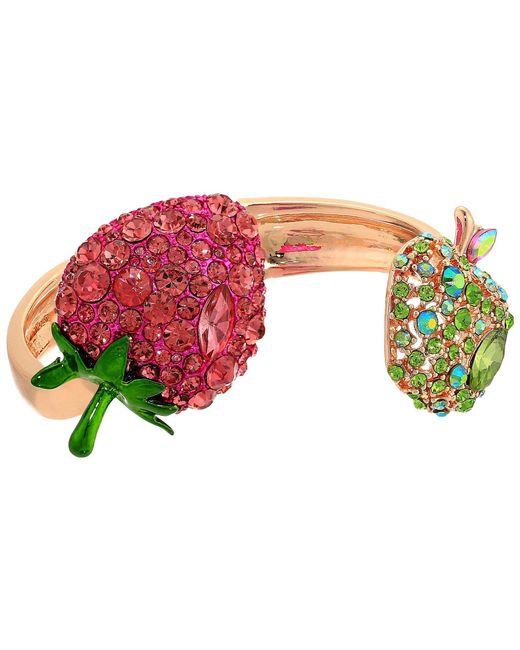 Betsey Johnson - Multicolor Strawberry And Apple Hinge Bracelet (pink/green) Bracelet - Lyst