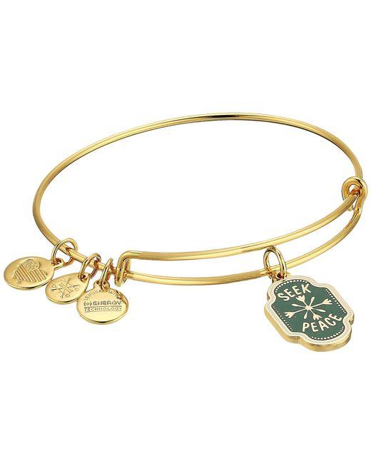 ALEX AND ANI - Metallic Words Are Powerful Seek Peace Bangle (shiny Gold) Bracelet - Lyst