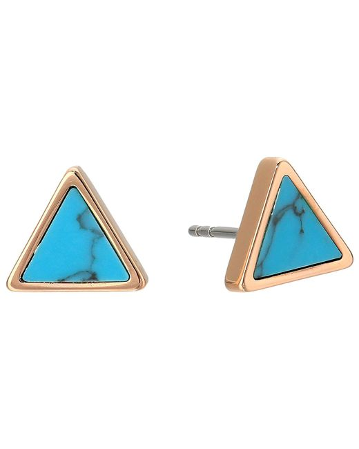 Fossil - Multicolor Turquoise Triangle Studs - Lyst