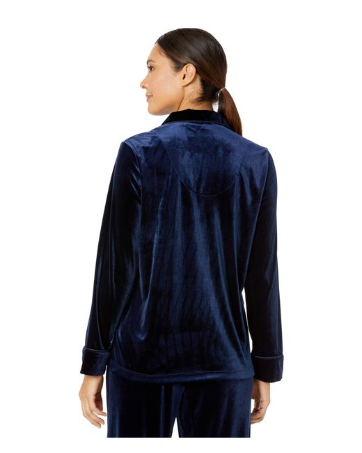 Lauren by Ralph Lauren Blue Velvet Long Sleeve Notch Collar Pajama Set