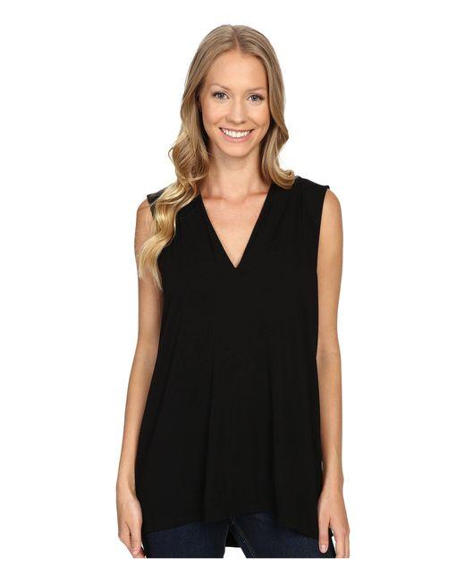 f1b9fd434c94e Vince Camuto - Black Sleeveless V-neck Top (medium Heather Grey) Women s  Clothing ...