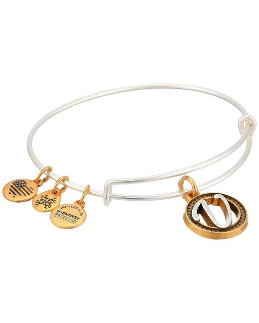 ALEX AND ANI Metallic Initial V Charm Bangle