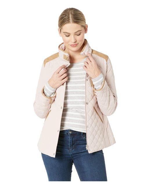 Lauren by Ralph Lauren - Natural Quilted Barn Jacket With Faux Leather Trim (luxe Chino) Women's Jacket - Lyst
