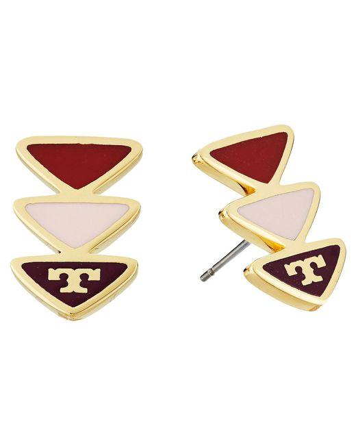 Tory Burch - Metallic Geo Triangle Stud Earrings - Lyst