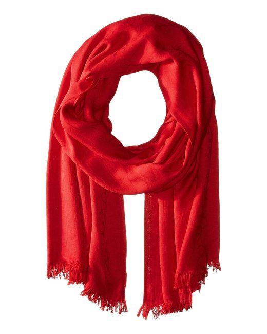 Calvin Klein - Red Ck Logo 2 In 1 Pashmina Wrap Scarf (adrenaline Blue) Scarves - Lyst