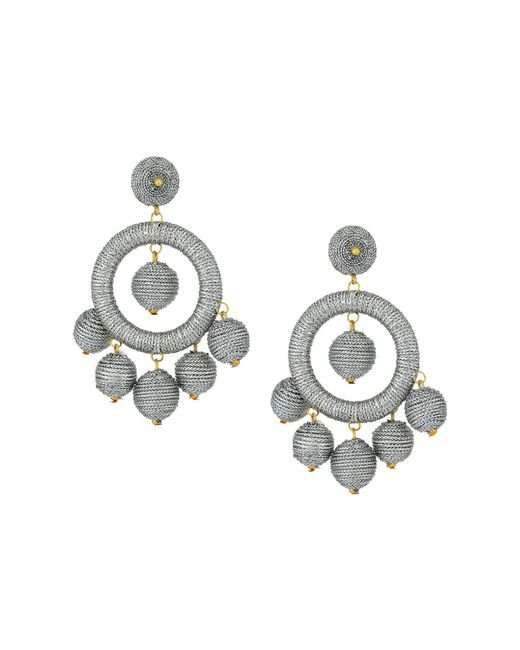 Kenneth Jay Lane - Metallic Graduated Silver Thread Wrapped Balls Drops W/ Dome Top Post Earrings - Lyst