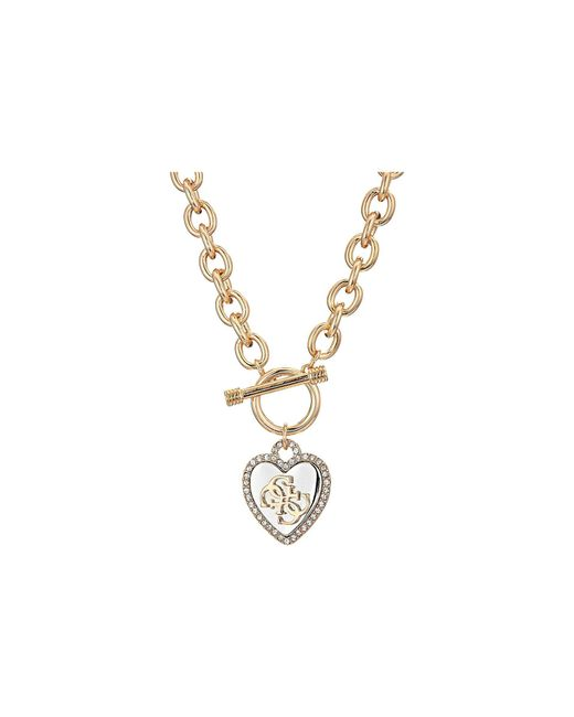 Guess - Metallic Pave Framed Heart Toggle Necklace With 4 G Logo (silver/gold/crystal) Necklace - Lyst
