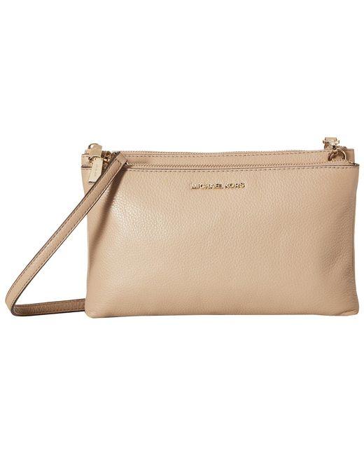 MICHAEL Michael Kors - Natural Double Zip Crossbody (truffle) Cross Body Handbags - Lyst