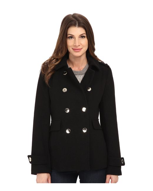 Calvin Klein | Black Double Breasted Wool Coat | Lyst