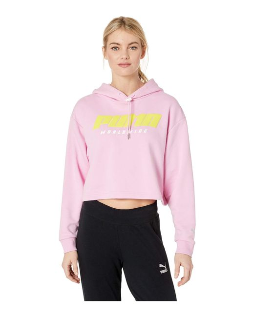 PUMA - Pink Tz Hoodie (cotton Black) Women's Clothing - Lyst