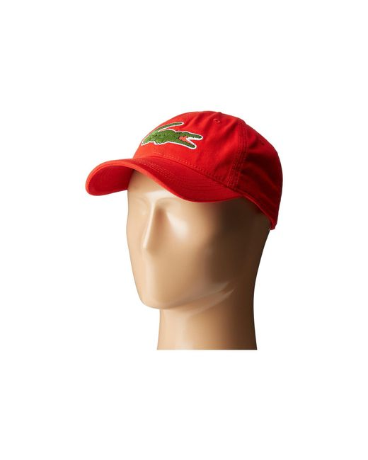 e516248742e Lacoste - Red Big Croc Gabardine Cap (flamingo) Baseball Caps for Men -  Lyst ...