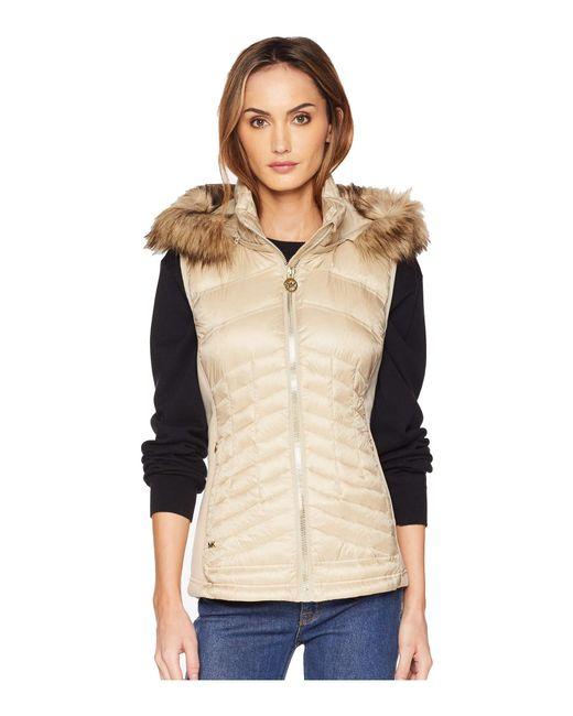 MICHAEL Michael Kors - Natural Zip Front Vest With Faux Fur Trim Hood Ma820357cd (black) Women's Vest - Lyst