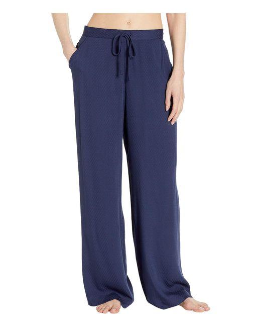 N By Natori Blue Rayon Jacquard Pants