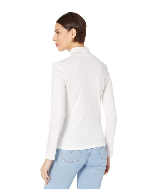 Lacoste White Long Sleeve Solid Color Turtleneck Tee