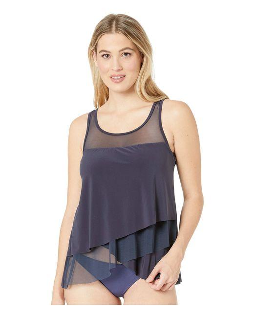b87795589e Miraclesuit - Blue Illusionists Mirage Tankini Top (black) Women's Swimwear  - Lyst ...