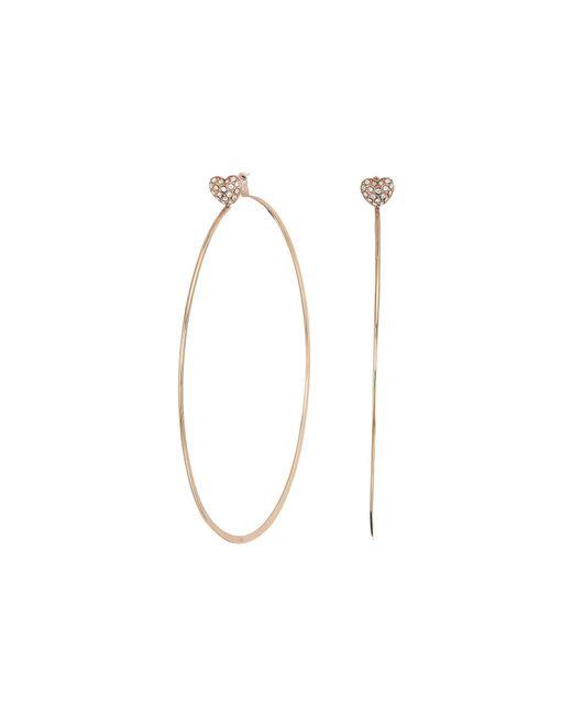 Michael Kors - Metallic Love Is In The Air Pave Heart Stud Hoop Earrings (rose Gold) Earring - Lyst